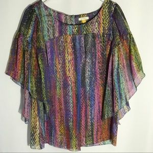 Anthropologie Leifsdottir Silk Boho Rainbow Top